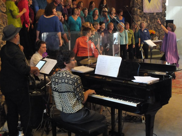 Kath Robinson directing choir
